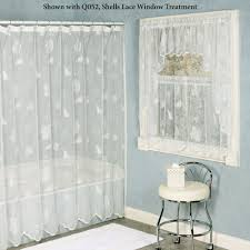 Lace Shower Curtains Sheer Seashells Lace Shower Curtain