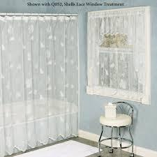 White Shower Curtain Seashells Lace Shower Curtain