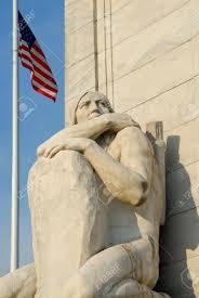 Christopher Columbus Flag Statue Of Native American Crouching At Christopher Columbus