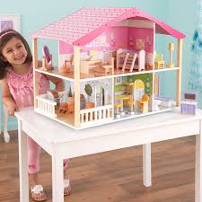 decor uptown kidkraft dollhouse on cozy pergo flooring and pink