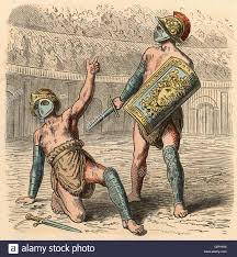 ancient rome the roman gladiator fights coloured engraving by