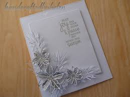 handcrafted by helen silver and white poinsettia christmas card
