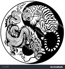 tiger yin yang on back shoulder