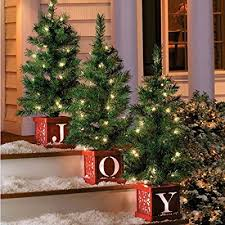 set of 3 lighted tree topiary pre lit