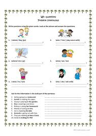 wh questions present progressive worksheet free esl printable