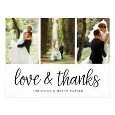 three photo collage wedding thank you postcard zazzle