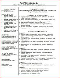 Job Resume Summary Examples by Resume Example Summary Resume Cv Cover Letter Summary Of