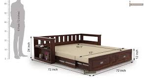 Tidy King Bed With Storage by Riota Couch Bed With Storage King Size Walnut Finish