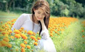 beautiful girls with flowers wallpapers