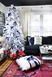 this white tree with navy bows that rug