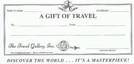 travel gift certificates the travel gallery inc