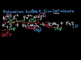 how to write net ionic equations k2s fe no3 2 potassium