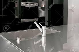minimalism design of modern black kitchen cabinets stock photo