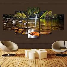 Home Decor Canvas Art 2017 Modern Unframed 5 Panels Waterfall Landscape Paintings Hd