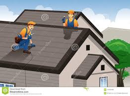 roofer working on the roof stock vector image 41549466