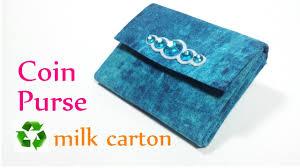 diy crafts coin purse recycle milk carton innova crafts youtube
