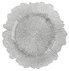 silver leaf glass charger plates
