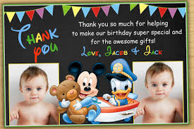 mickey mouse thank you cards mickey mouse 1st birthday thank you card mickey mouse mickey