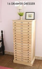 the perfect tall storage cabinet with 16 slim drawers to store all