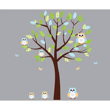 green and blue owl art for kids with tree wall sticker for children green and blue owl wall decal with tree wall murals for kids rooms