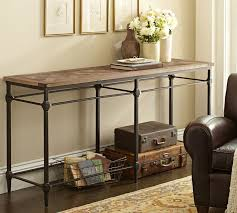Wooden Console Table Parquet Reclaimed Wood Console Table Pottery Barn