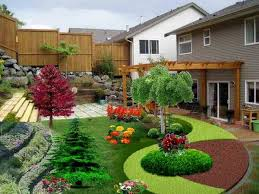 affordable easy backyard ideas on a budget with wooden garage door