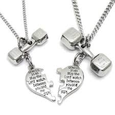 and me necklace steel puzzle split heart and dumbbell combo necklace