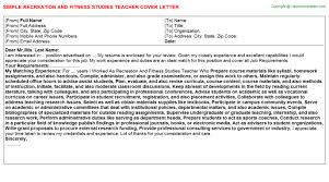recreation and fitness studies teacher cover letter