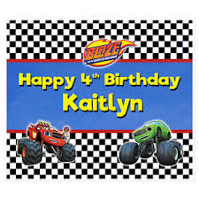 personalized photo backdrop blaze and the truck birthday banner personalized party