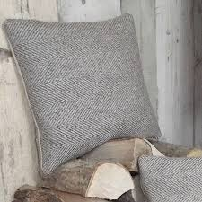 Grey Linen Cushions Natural Herringbone U0027 Tweed And Linen Cushion Country Crafts