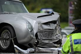 aston martin db5 aston martin like one in 007 film goldfinger ruined in crash off m56