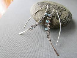silver feather earrings silver labradorite feather earrings balsamroot jewelry