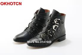 motorcycle booties black leather rivets studded ankle boots women metal buckle strap