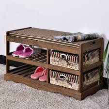 Solid Wood Shoe Storage Bench Aliexpress Com Buy Wooden Shoe Rack With Two Storage Basket