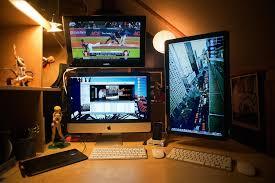 Compact Computer Desk For Imac Compact Triple Display Mac Setup Used For Photo Editing Magic
