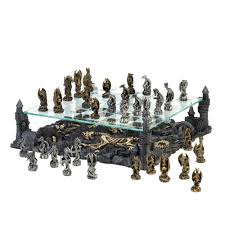 Modern Chess Table Furniture Outstanding Dragon Chess Set With Wooden Material And