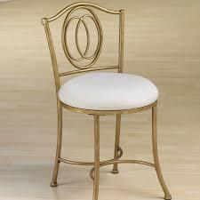Vanity Stool On Wheels Dark Brown Steel Vanity Chair With Four Curving Legs Combined With