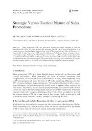 strategic versus tactical nature of sales promotions pdf download