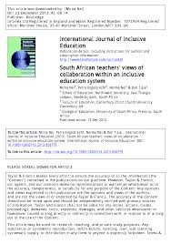 south african teachers u0027 views of collaboration within an inclusive