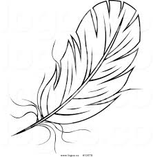 feathers black and white clipart 22