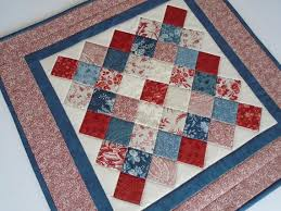 quilted square table toppers quilted table topper quilted table runner in red blue ivory