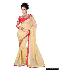 women chiffon beige colour embroidey designer saree