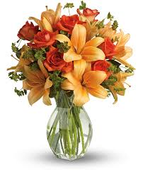 Roses And Lilies Fiery Lily And Rose Flowers Fiery Lily And Rose Flower Bouquet
