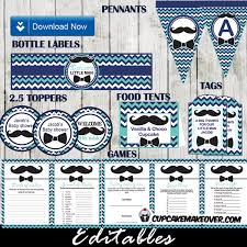 bow tie baby shower decorations chevron blue mustache and bow tie baby shower party package