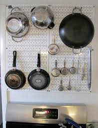 Pegboard Ideas Kitchen Enameled Steel Pegboard For Kitchen Pot Racks Eight Fun Colors