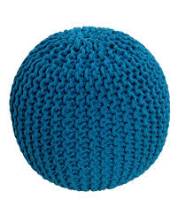 teal knitted cotton pouffe footstool round 35 x 40 cm homescapes