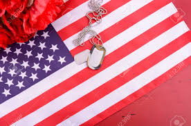 Red Flag Day Veterans Day Usa Flag With Dog Tags And Red Flanders Poppies