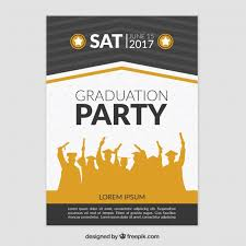 graduation poster graduation party poster with silhouettes vector free
