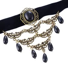 black bead collar necklace images Fashion black retro gothic collar choker necklace beads charms for jpg