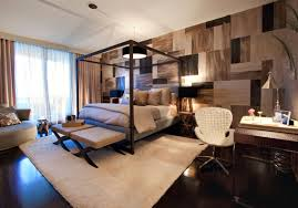 brown pattern bedroom wallpaper combined by black wooden canopy